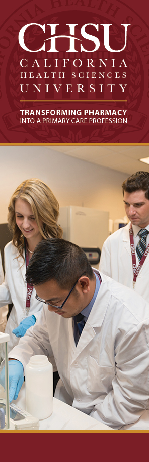 California Health Sciences University, College of Pharmacy, image showing three students learning in the research lab.