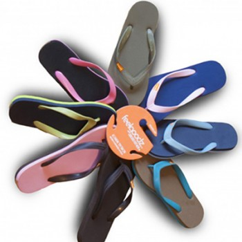 Sustainable, comfortable flip-flops made from natural rubber.