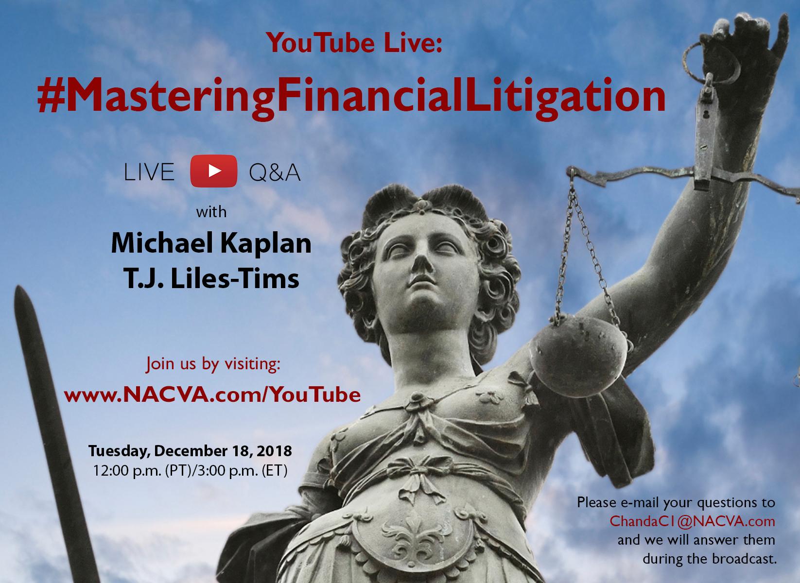 December 18: YouTube Live Event Mastering Financial Litigation