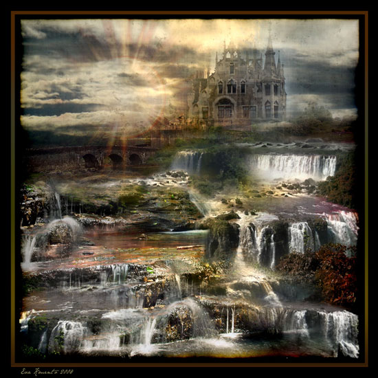 Romantic Castle with Gushing Falls