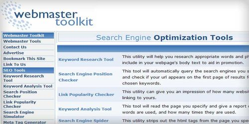 Webmaster-Toolkit Search Engine Optimization Tools