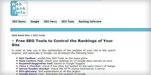 Webrankinfo Free SEO Tools