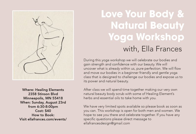 Love Your Body & Natural Beauty Yoga Workshop, Healing Elements Minneapolis, Minneapolis Yoga Events