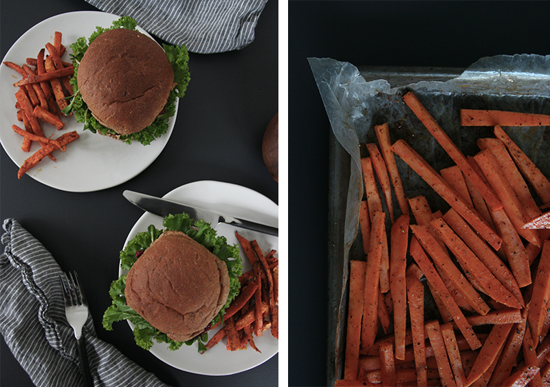 Vegan Fennel, Black Bean, Quinoa Burgers with sweet potato fries and spiced ketchup