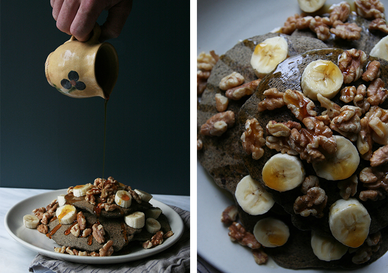 Buckwheat Cacao Chocolate Chip Pancakes with Bananas and Walnuts
