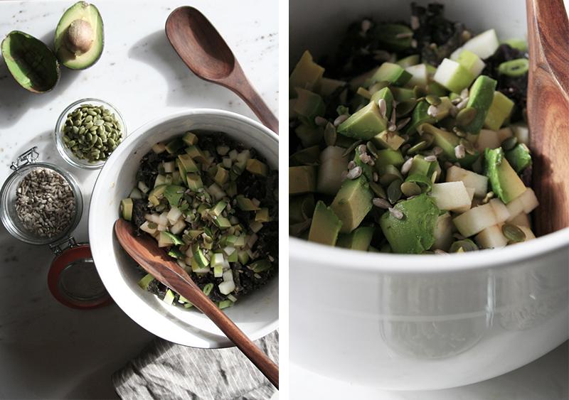 green apple + avocado kale salad, vegan, vegetarian, gluten-free