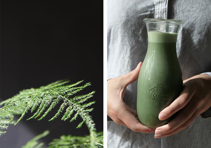 Blue-green spirulina milk