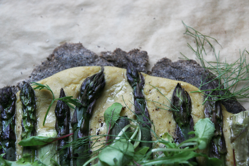 Buckwheat Flatbread Pizza with Asparagus and Fennel Spread