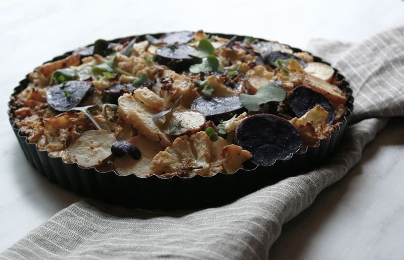 Cauliflower and Tricolor Potato Pie with Morel Mushrooms