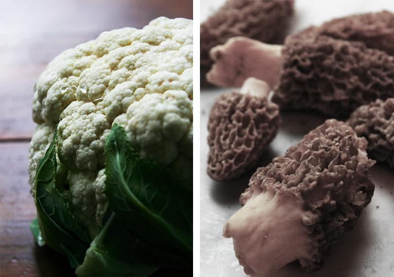 Cauliflower and Tricolor potato pie with morel mushrooms