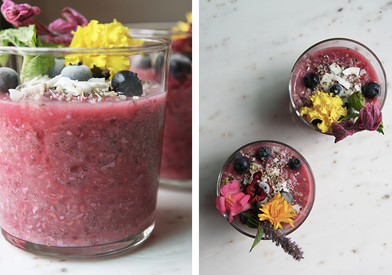 Raspberry + Beet Chia Seed Pudding with Hemp, Coconut, Edible Flowers and Frozen Blueberries