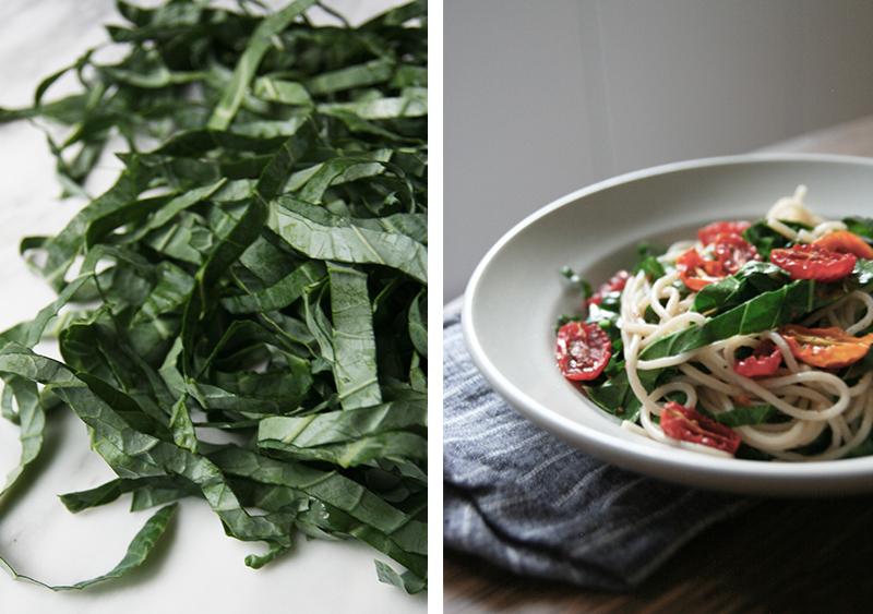 Roasted Tomato + Collard Green Pasta, Vegan, Gluten-free, nut-free