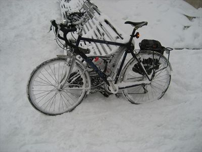 My bike seemed to collect a lot of snow on the way