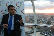 Lord Bilimoria, founder of Cobra Beer, above the Houses of Parliament in London