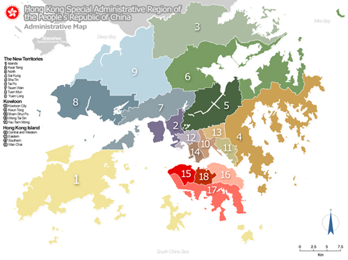 Map of Hong Kong Regions