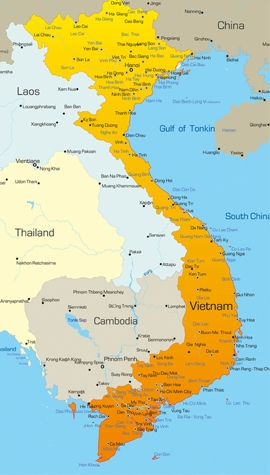teach in Vietnam - map