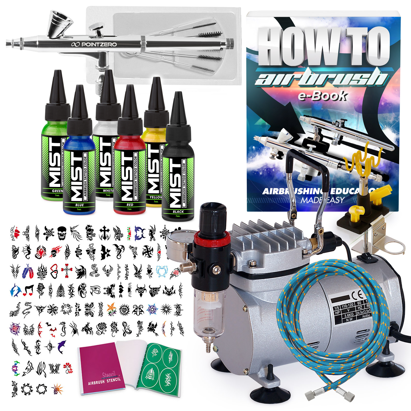 Temporary tattoo airbrush kit 6 color set with for Airbrush tattoo kit