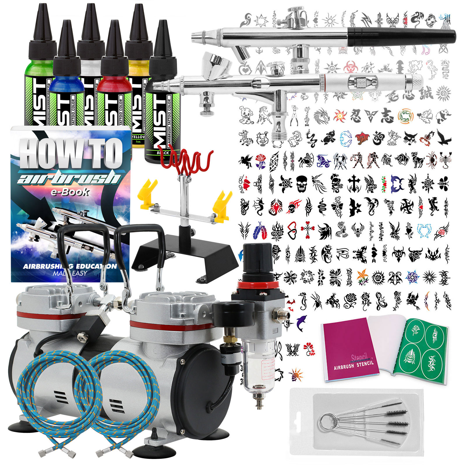 Temporary tattoo airbrush kit 2 gun set with compressor for Airbrush tattoo kit