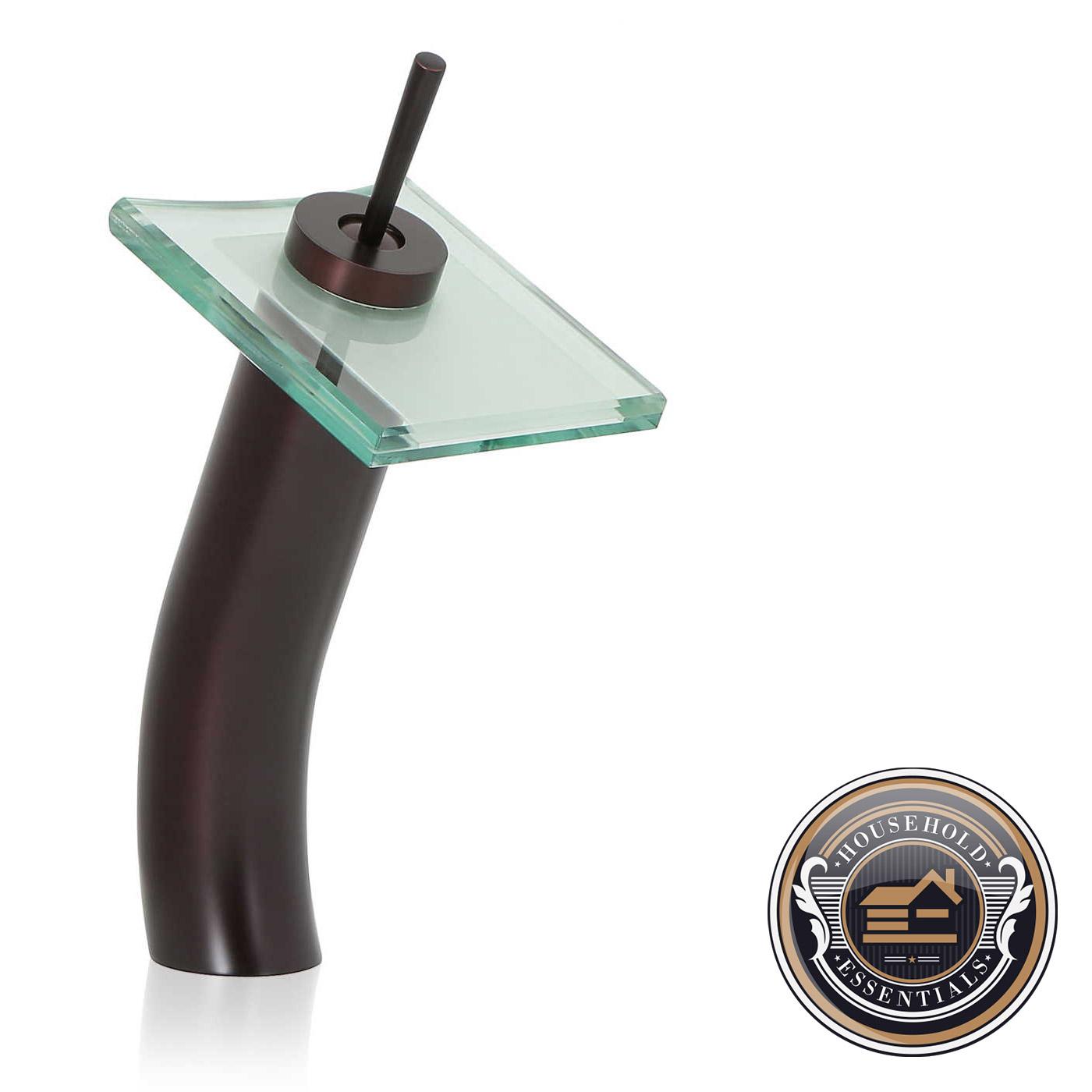 "Bathroom Faucets Ebay 12"" glass waterfall vessel sink bathroom faucet | ebay"