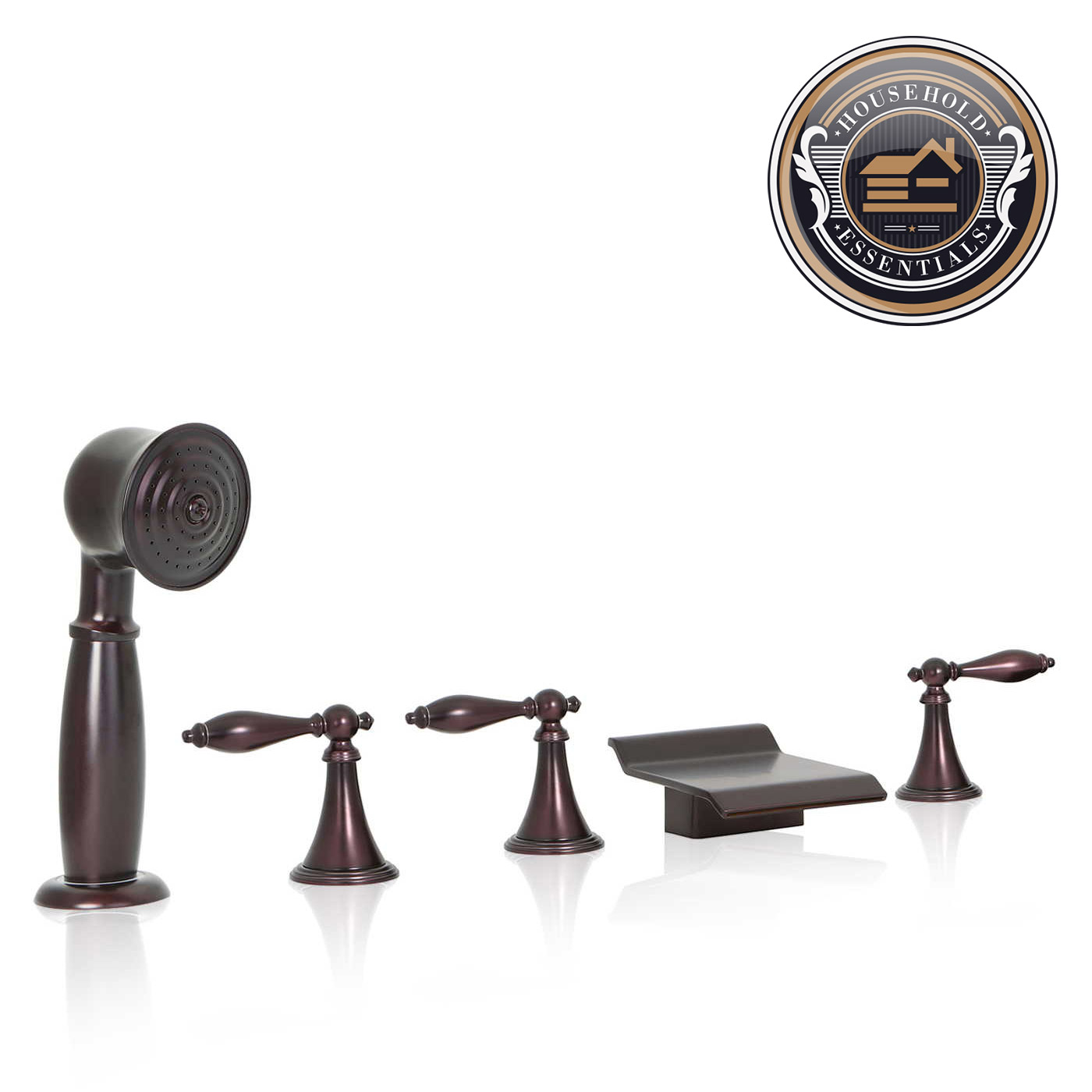 Oil Rubbed Bronze Waterfall Roman Tub Bathtub Faucet With Hand Shower Spray