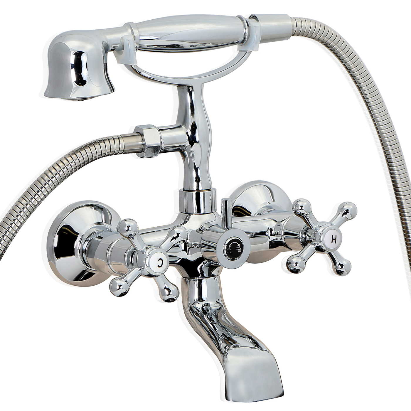 Chrome Vintage Clawfoot Bath TUB Faucet With Handshower Wall Mount EBay