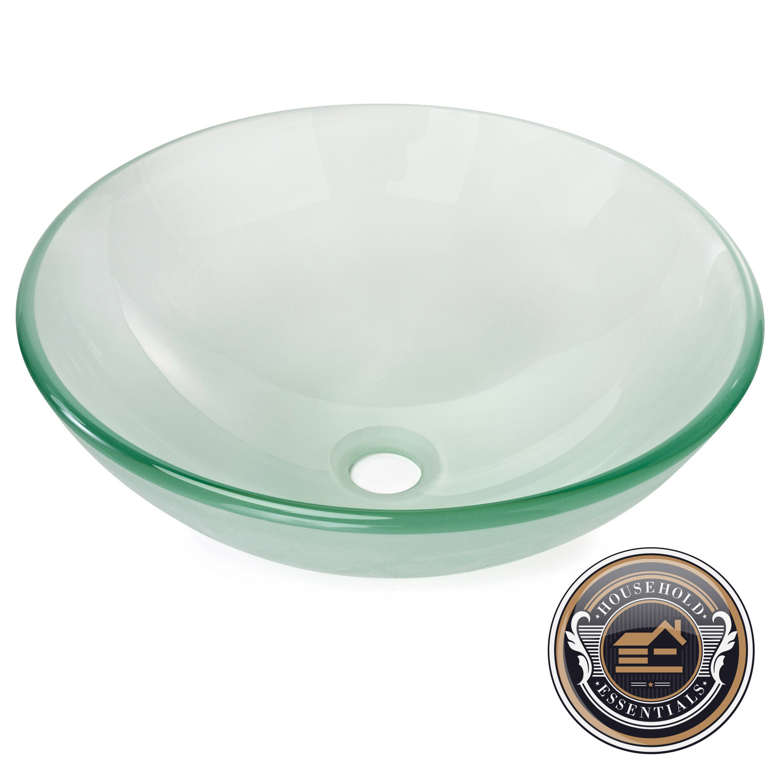 Bathroom Vessel Sink Frosted Tempered Glass Round Basin