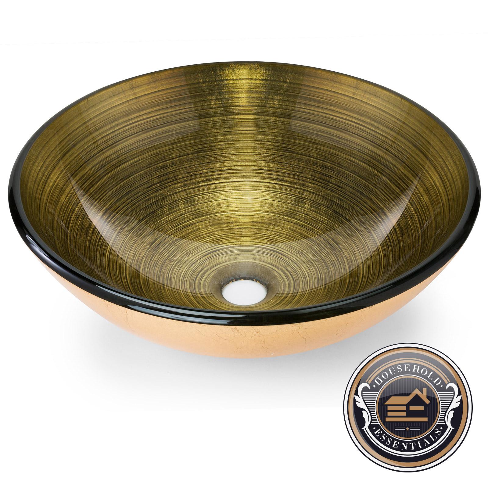 Gold Tempered Glass Vessel Sink Round Bathroom Bowl Vanity