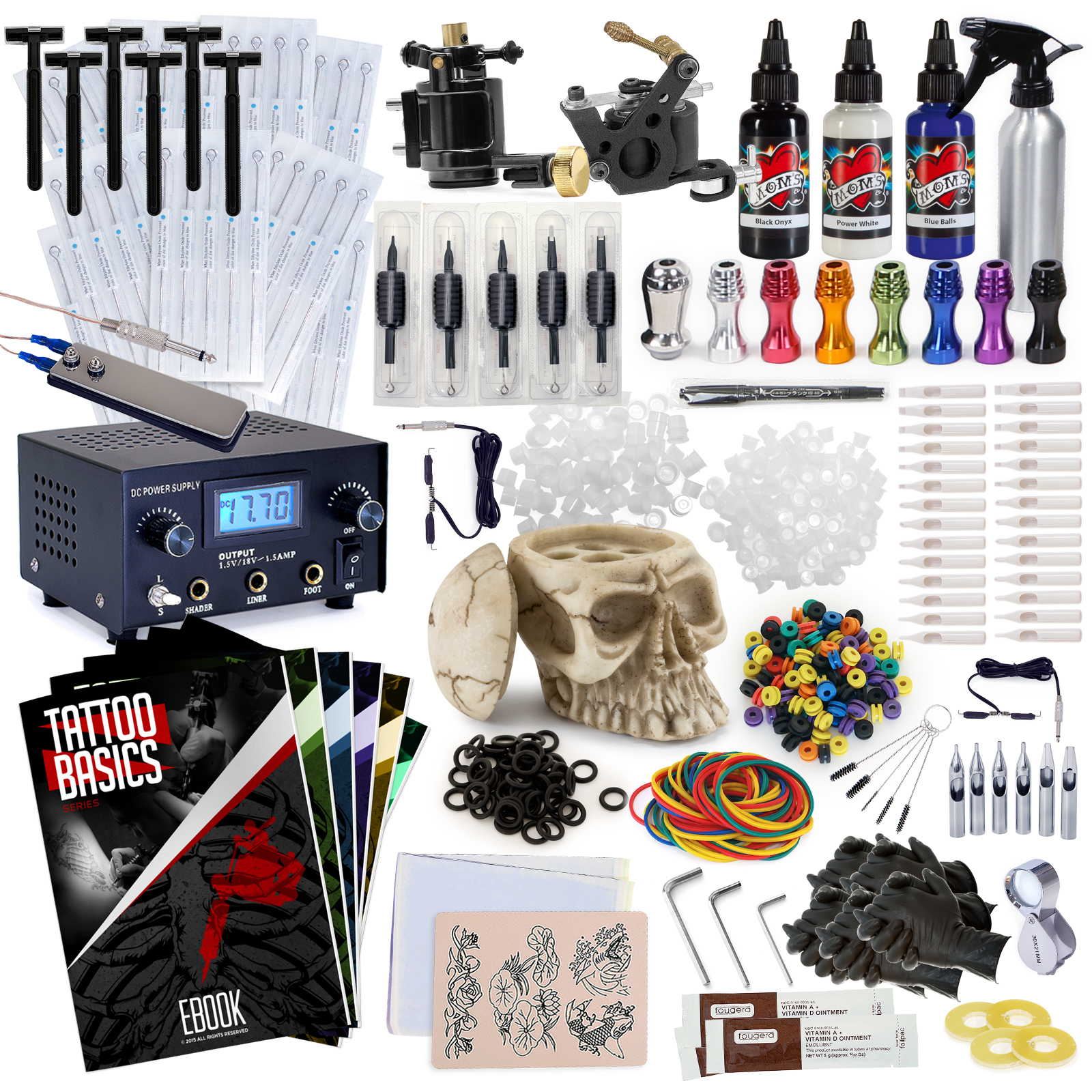 Complete professional tattoo gun kit machine equipment set for Tattoo supplies ebay