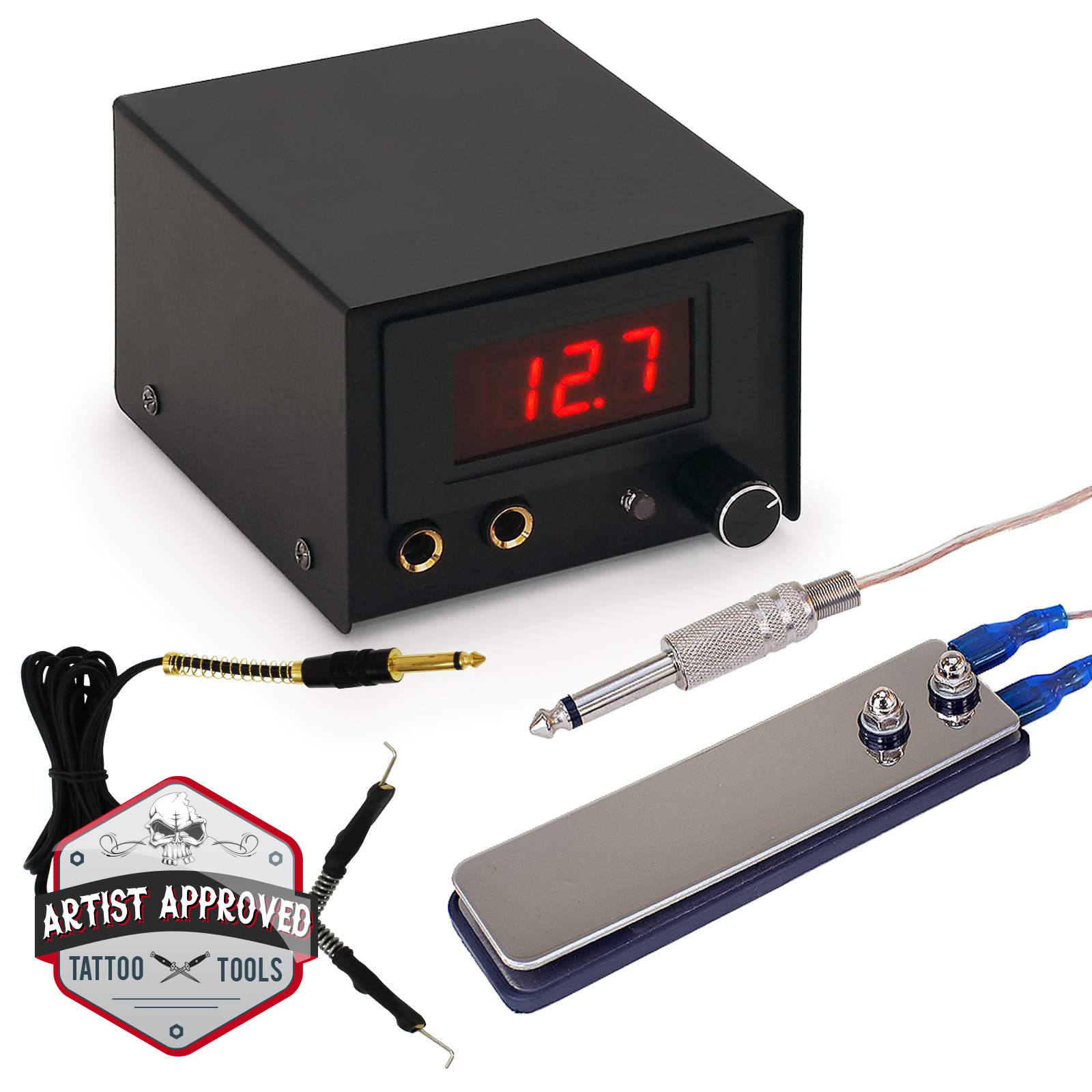 Tattoo power supply kit for machine with pedal digital for Power supply for tattoo