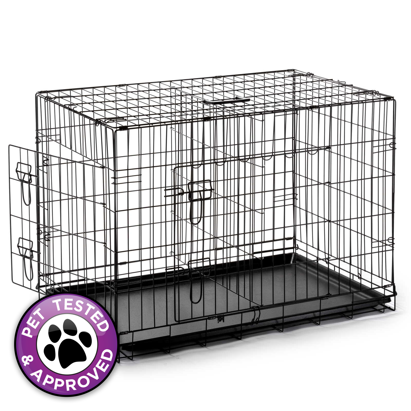 42quot dog cage crate folding kennel with divider pet puppy With 42 dog crate with divider