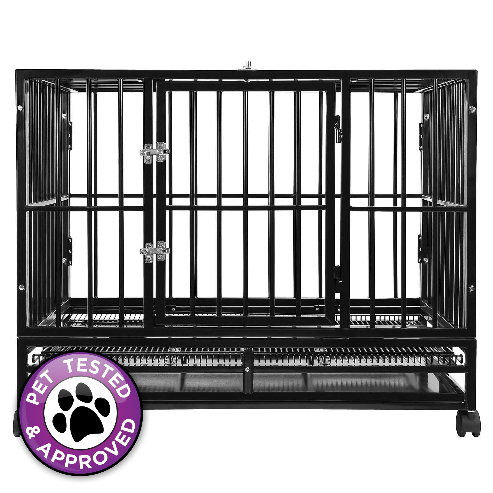 Heavy duty rolling dog cage crate kennel house with metal for Metal shipping crate