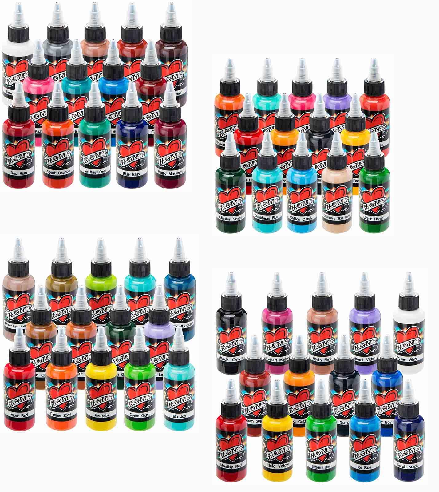 Moms millennium tattoo ink set 56 bottles 1 2 oz for Cheap moms tattoo ink