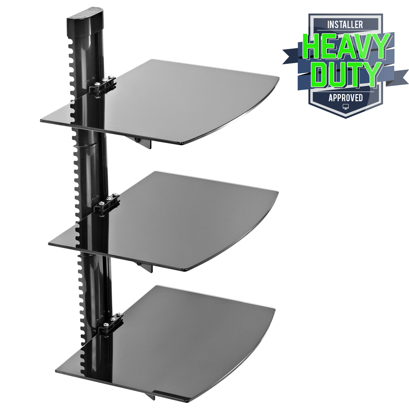 3 shelf floating wall mount dvd tv component av console cable glass stand ebay. Black Bedroom Furniture Sets. Home Design Ideas