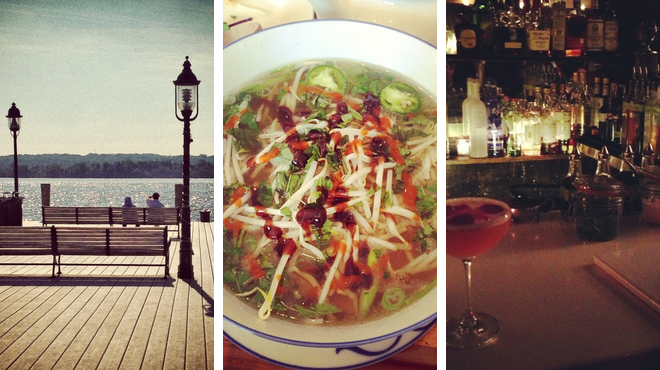 Harbor / marina ⇨ Vietnamese restaurant ⇨ Speakeasy