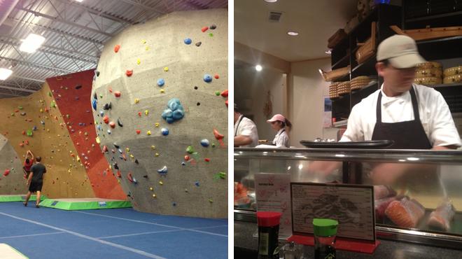 Rock climbing spot ⇨ Sushi restaurant