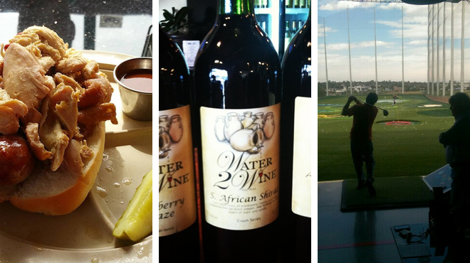 Golf course ⇨ Bbq joint ⇨ Wine bar
