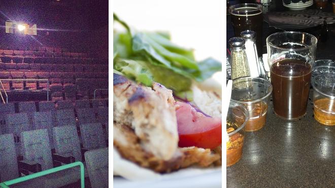 Catch a movie ⇨ Mediterranean restaurant ⇨ Brewery