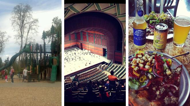 Park ⇨ Performing arts venue ⇨ Pizza place