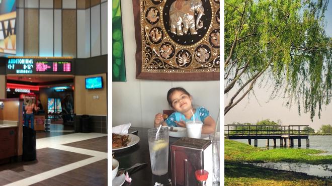 Park ⇨ Thai restaurant ⇨ Catch a movie