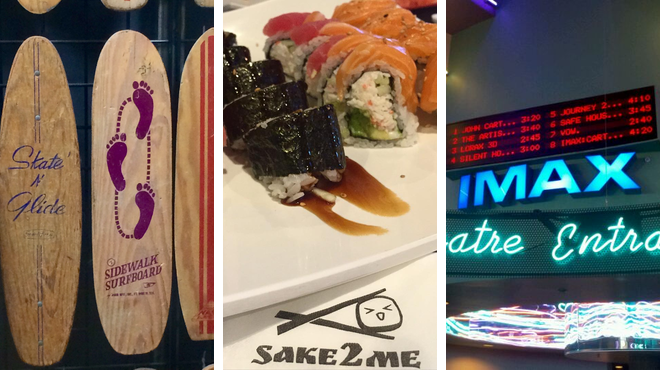 Skate park ⇨ Japanese restaurant ⇨ Catch a movie