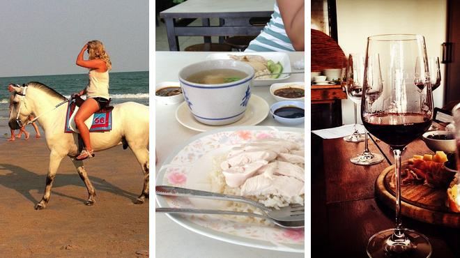 Beach ⇨ Thai restaurant ⇨ Wine bar