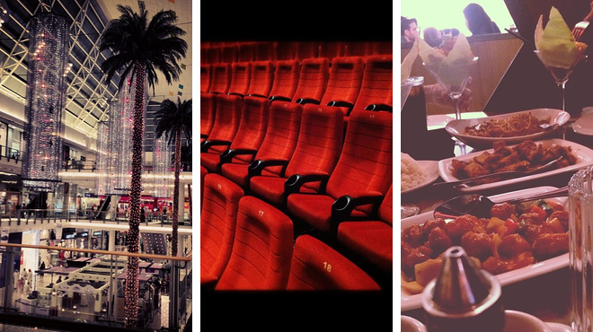 Mall ⇨ Catch a movie ⇨ Asian restaurant