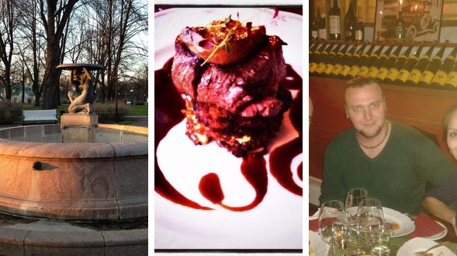 Park ⇨ French restaurant ⇨ Wine bar