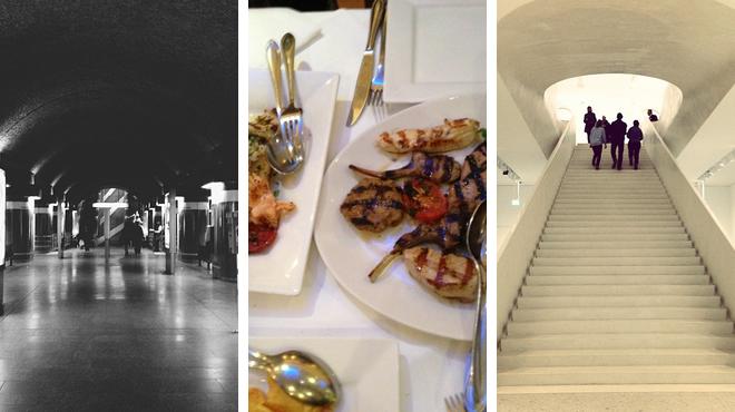 Plaza ⇨ Greek restaurant ⇨ Learn about art