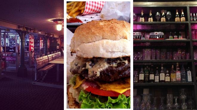 Music venue ⇨ Burger joint ⇨ Bar