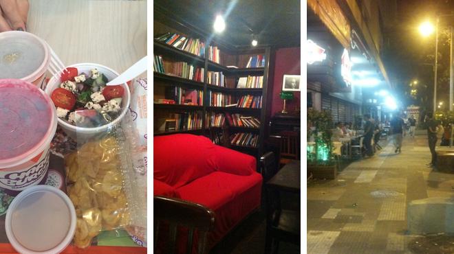 Burger joint ⇨ Bookstore ⇨ Beer garden