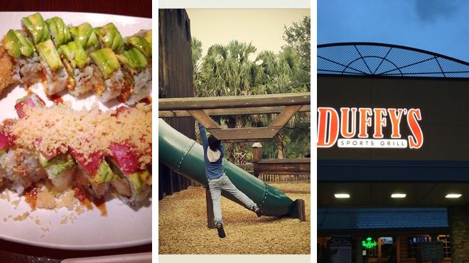 Sushi restaurant ⇨ Playground ⇨ Sports bar