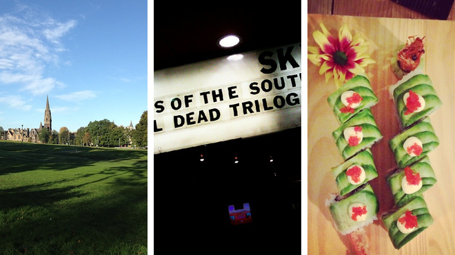Park ⇨ Catch a movie ⇨ Sushi restaurant