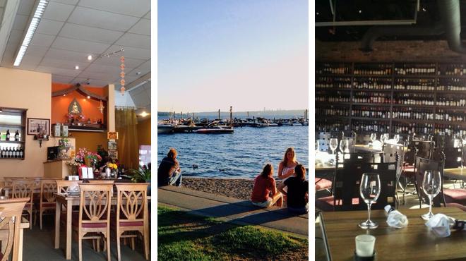 Harbor / marina ⇨ Thai restaurant ⇨ Wine bar