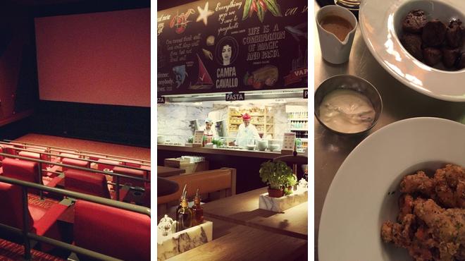 Catch a movie ⇨ Italian restaurant ⇨ Bar